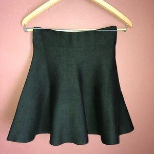 Dark green high-waisted skirt